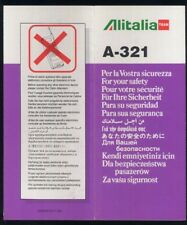 Alitalia Team A321 64504910/11-96 Promoter italian airline SAFETY CARD sc312 aa