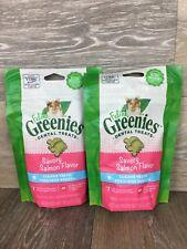 2 Packs Feline Greenies Dental Treats Savory Salmon Flavored 60 Grams Each Pack