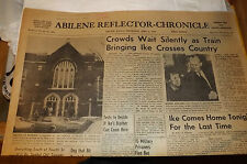 Vintage NEWSPAPER  ABILENE Reflector-Chronicle APRIL 2, 1969 8pp IKE Funeral