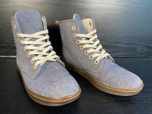 Dr Martens AW501 Shoreditch Denim Canvas Mid Shoe Boot - Lace Up - Size 4 UK