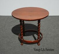 Vintage French Country Small Round Side Table End Table w Barley Twist Legs