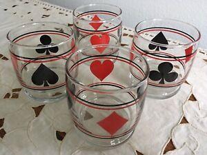 VINTAGE Set of 4 Card Suits Clear RED BLACK Whisky Rock Glasses