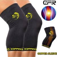 Copper Knee Support Brace Compression Sleeve Sport Joint Pain Arthritis Relief
