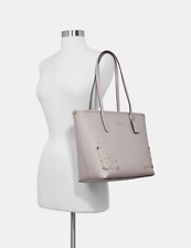 NWT COACH STARDUST CRYSTAL RIVETS CITY ZIP TOTE GREY BIRCH $378 F66906