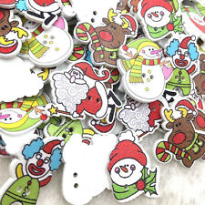 100pcs Assorted Christmas Wooden Button Lot Craft Card Embellish WB369