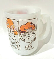 Fire King Snoopy Sweet Dreams Ice Cream Milk Glass Anchor Hocking Cup Mug