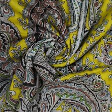 """Indian Yellow Cotton Cambric Paisley 43 Wide Sewing Fabric Crafting By Yard"""""""