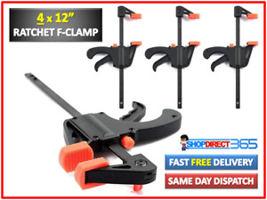 """4 x 300mm 12"""" Wood Working Bar F Clamp Grip Ratchet Quick Release Squeeze 9-18"""