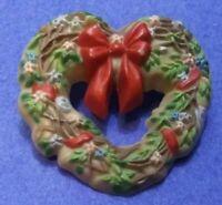 Heart Wreath Pin Brooch Vintage Christmas Hallmark Winter Red Bow 1985