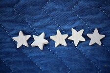 """5 pc Set New Raw Unfinished Wood Craft 5/8"""" Star Lot Made in USA!"""