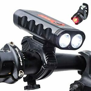 ® Mountain Bike Lights Front and Back USB Rechargeable 2400 Lumens, 4
