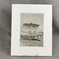 1930 Aufdruck Alte Ägyptische Nil Boot Holz Schiff Ägypten Original