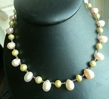 Silver Clasp - Pink and Green Super Freshwater Pearl Necklace Choker + Sterling