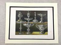 1862 Print Victorian Copeland Glassware Crystal Glass Antique Chromolithograph