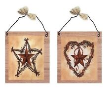 Primitive Rustic Pictures Barn Stars w/ Berries Heart Star Wall Plaques