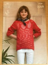 KING COLE OPIUM 3749 JUMPER / SWEATER 2 DESIGNS KNITTING PATTERNS 22-30in NEW