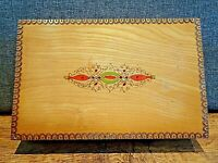 Vintage Treen Box with Hand Pyrography Decoration -Three Compartment Hinged Lid