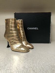 Chanel Calfskin Crocodile Embossed Leather Ankle Boot Metallic Gold 36 / 6