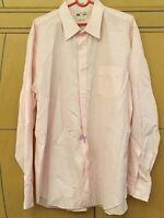 J. CREW Thomas Mason Men's Shirt Button Down XL Pink White Striped Long Sleeved