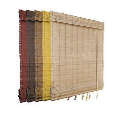 BAMBUS RAFFROLLO / Rollo Faltenrollo für Fenster mit Schnurzug Kordel Holzrollo