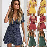 UK Holiday Womens Short Sleeve Floral Ladies Summer Casual Mini Swing Sun Dress