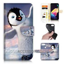 ( For Huawei Y6 2018 ) Wallet Flip Case Cover AJ40697 Penguin