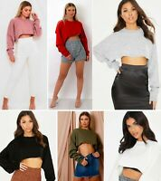 Knitted Cropped Batwing Oversized Jumper Top Womens Winter Wear New