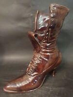 """Vintage Porcelain Ceramic Large Boot Shoe 9.5"""" Tall Glazed Brown Planter Vase"""
