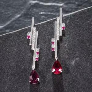 Natural Diamond Red Ruby Pear Red Tourmaline Gemstone Earrings 14K White Gold