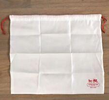 "Coach White Satin Red Drawstring Dust Cover Storage Bag Dustbag 16"" X 13"""