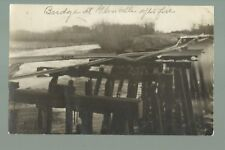 Glenville MINNESOTA RP1910 RUINS RAILROAD BRIDGE Fire Train nr Albert Lea Austin