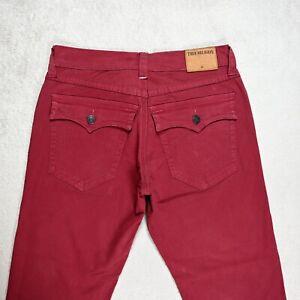 Mens TRUE RELIGION GENO Slim Red Trousers Size W34 L28Flap pockets Stretch Pants