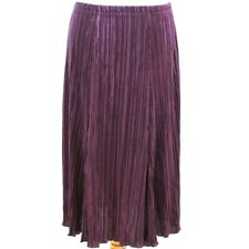 CLASSICS Satin Skirt 14 Pleat Plisse Midi Damson Going Out Party Formal Autumn