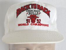 Chicago Bulls Hat 91-92 NBA World Champions Back to Back Baseball Lid Snapback