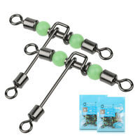 5pcs 3 Way Luminous T-shape Rolling Swivel With Beads Fishing Swivels Connector