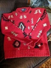 Vintage Polo Ralph Lauren Hand Kitted Sweater Sz M Southwest Motif RARE