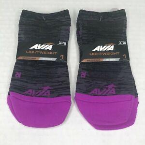 2 Pair Pack Avia Women's Lightweight Purple/Black No Show Socks Size 4-10 New