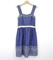 NAUDIC Size M Boho Dress with Fringe Blue and White EUC