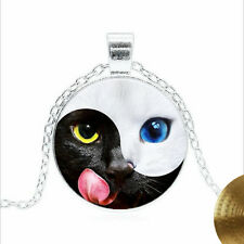 Cat, Black and white Yin Yang Tibet silver Glass dome Necklace chain Pendant
