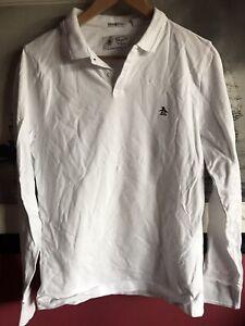 Original Penguin Long Sleeve Polo White Shirt Size Small