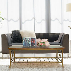 Solid Wood Coffee Table Industrial Gold Metal Frame With Storage Living Room