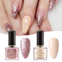 2Pcs BORN PRETTY Peel Off Glitter Nail Polish Pink Rose Gold Blue Nail Varnish