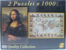 PUZZLE 2 pz x 1000 - 1° LA MONNA LISA / 2° il MAPPA MONDO - cm 67,7 x 47,7