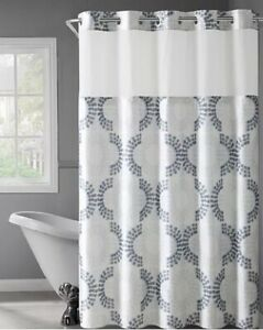 Hookless Stamped Gate Shower Curtain & Snap-In Liner, Grey/Taupe, 71x74