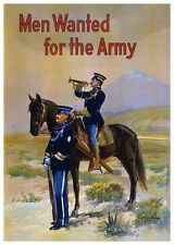 MEN WANTED FOR THE ARMY  Wall Poster Art print Recruitment decor