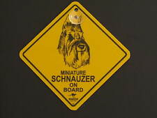 Miniature Schnauzer On Board Dog Breed Yellow Car Swing Sign Gift