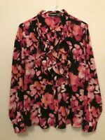 KARL LAGERFELD PARIS Blouse Womens Large Floral Ruffled Button Down Polyester