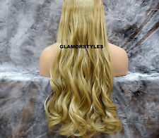 "24"" BLONDE MIX FLIP IN SECRET CLEAR WIRE HAIR PIECE EXTENSIONS NO CLIP IN/ON"