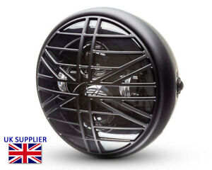 """Motorcycle Headlight LED 7.7"""" with Union Flag Grill Retro Cafe Racer & Scrambler"""