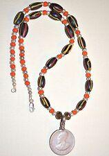 Antique Haile Selassie Coin Medallion Necklace W Antique Venetian Lampwork Beads
